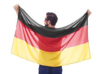 Rear view of german fan waving a flag