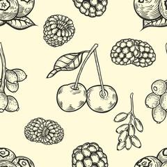 engraving style berries