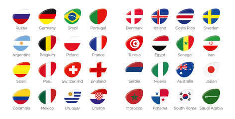 Modern ellipse icon symbols of participating countries to the soccer tournament in russia