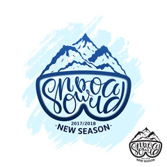 Snowboard Handdrawing Lettering Print with Mountains. Snowboarding Typography for t-shirt Design and Other Uses. Vector Label of Extreme Witer Sport with Grunge Effect.