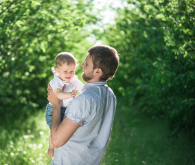 boy with her father together outdoors