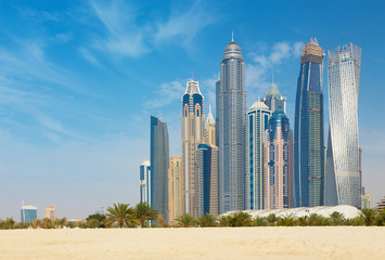 Dubai - The Marina towers from beach.