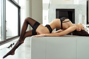 passionate woman in black lingerie