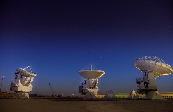 ALMA, base station of the worldwide biggest telescope Array at night, Chile
