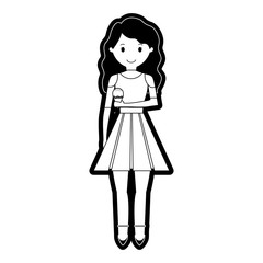 cartoon woman with ice cream icon over white background vector illustration