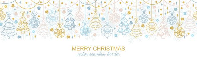Seamless snowflake border  festive decoration isolated on white background, Christmas design. Vector illustration, xmas ornament, snow flake header or banner
