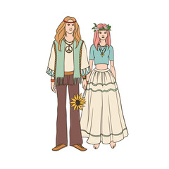 Young hippie man and woman with long hair dressed in loose ethnic clothing standing together and holding hands. Male and female cartoon characters isolated on white background. Vector illustration.
