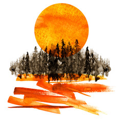 Watercolor banner, logo, postcard. Black silhouette of the forest, pine, spruce, cedar. Watercolor landscape, orange, red splash of paint, abstract spots, beautiful drawing. Orange sun, sunrise.