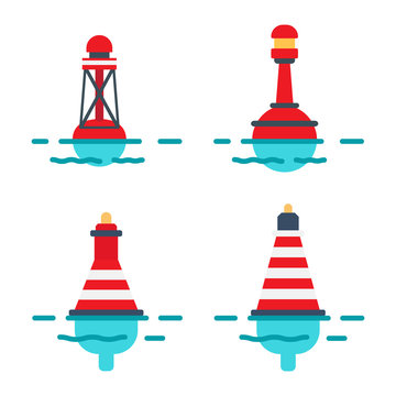 Striped Buoys in Water Isolated Illustrations Set