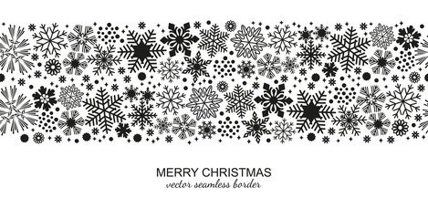 Monochrome seamless snowflake border isolated on white background, Christmas design for postcard or greeting card. Vector illustration, merry xmas snow flake header or banner, wallpaper or backdrop