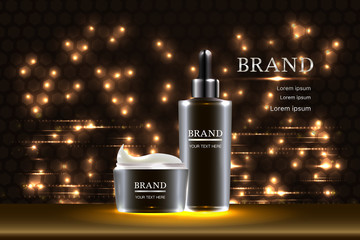 Black cosmetic containers with advertising background ready to use, luxury skin care ad design. Illustration vector.
