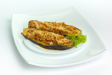 Eggplant stuffed with meat and cheese
