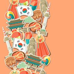 Korea seamless pattern. Korean traditional sticker symbols and objects