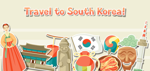 Korea banner design. Korean traditional sticker symbols and objects