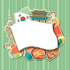 Korea background design. Korean traditional sticker symbols and objects