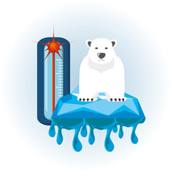 global warming with polar bear and thermometer icon colorful design vector illustration