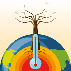 dry tree and earth planet with thermometer icon colorful design vector illustration