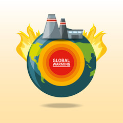 global warming design with earth planet and industrial buildings icon vector illustration