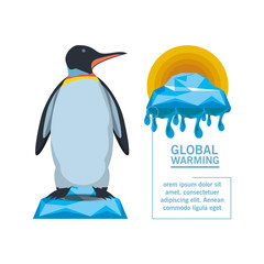 global warming with penguin icon over white background colorful design vector illustration