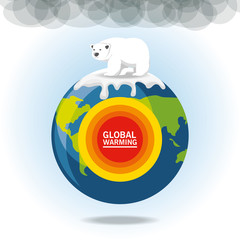 global warming design with polar bear earth planet and icon vector illustration