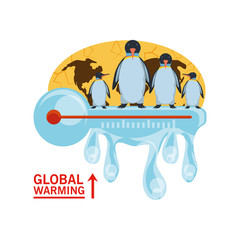 global warming with penguin and thermometer icon over white background colorful design vector illustration