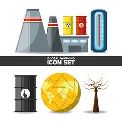 Global warming icon set over white background colorful design vector illustration