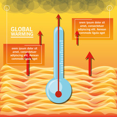 global warming presentation with thermometer colorful design vector illustration
