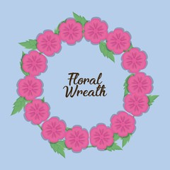 decorative wreath with pink flowers over blue background colorful design vector illustration