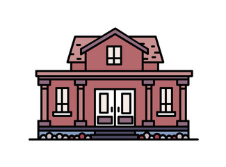 Fototapete - Two-story suburban house with porch and columns built in elegant classic architectural style. Residential building isolated on white background. Colorful vector illustration in line art style.