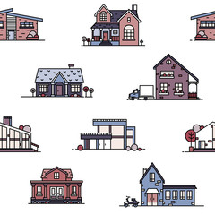 Fototapete - Seamless pattern with suburban houses on white background. Backdrop with living or residential buildings of various architecture. Vector illustration in line art style for wallpaper, textile print.