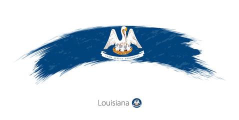 Flag of Louisiana in rounded grunge brush stroke.