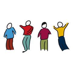 Different people together icon on white background