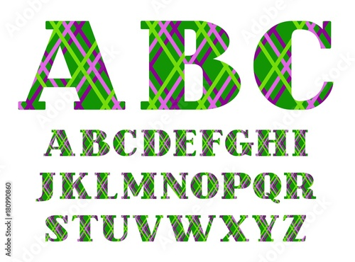 English font, colored lines on green background, vector