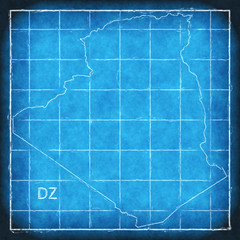 Algeria map blue print artwork illustration silhouette