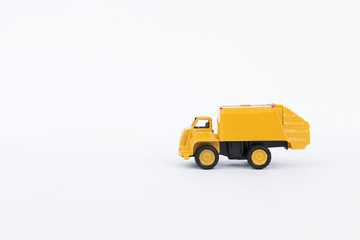 Yellow truck isolate on white background, plastic truck toy