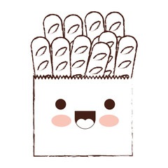 kawaii paper bag with french breads in brown blurred silhouette