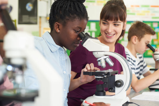 Group Of Pupils With Teacher Using Microscopes In Science Class