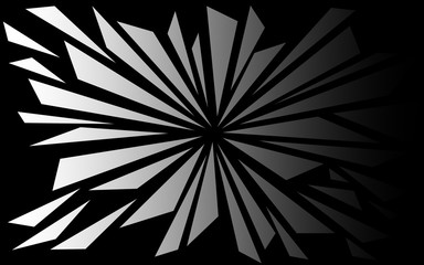 Shattered Black and White Triangluar Shapes Background - 3D Style Abstract Explosion Shards Wallpaper