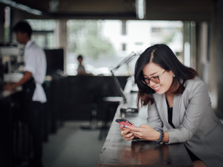 Asian business woman happy and smile concept success work