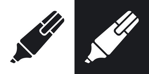 Vector highlighter icon. Two-tone version on black and white background