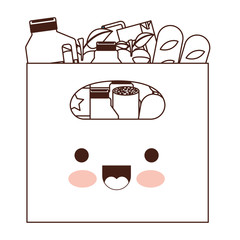 kawaii big paper bag with handle and foods sausage and bread apples and drinks orange juice and water bottle and lacteal in brown silhouette