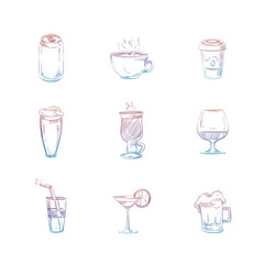 Colorful hand drawn drinks set on white background