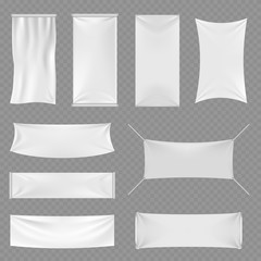 White blank textile advertising banners with folds isolated on transparent background