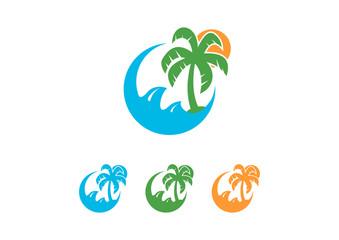 Summer Holidays Sunrise with Palms and Waves Logo Design