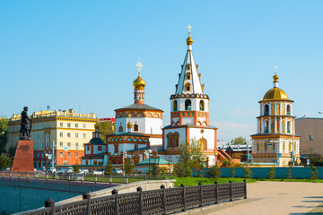 View of the Cathedral of the Epiphany and the monument to the founders of Irkutsk