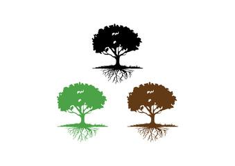 Oak Tree with Root Silhouette Clip-art Logo