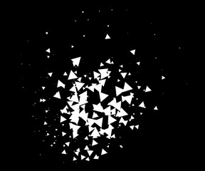 Abstract explosion vector black and white background. Burst, blast, star particles, broken glass, big data illustration. Moving broken triangles fragments bomb abstract explosion. Cool grunge shatter