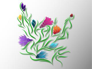 Abstract Flower Digital Illustration - Colorful Spring Floral Design Color Gradient Background