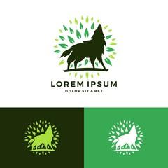 howling wolf leaf logo
