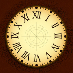 Vintage Clock Graphic Design on Red Squares Texture Background
